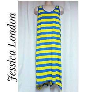 Jessica London Striped Tank Dress Blue Yellow